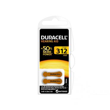 Duracell Hearing Aid Battery 312 Brown 6 Pack