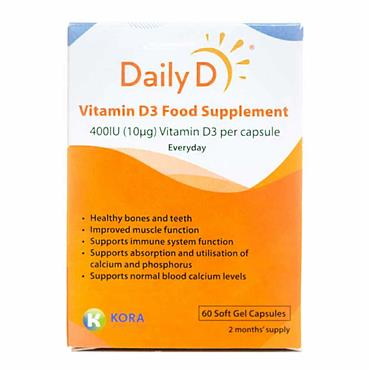 Daily D Vitamin D3 Food Supplement 400iu 60 Capsules