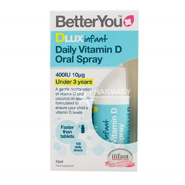 BetterYou Infant DLUX Daily Vitamin D Oral Spray 400IU 15ml