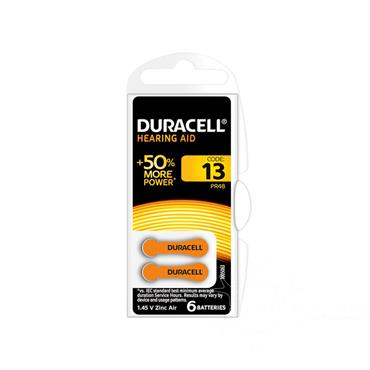 Duracell Hearing Aid Battery 13 Orange 6 Pack