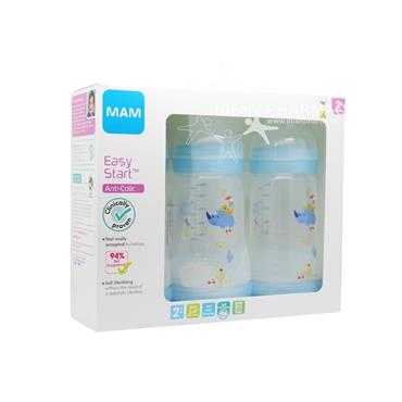 MAM Easy Start Anti-Colic Bottle 2m+ 260ml Pack of 3 Blue
