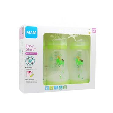 MAM Easy Start Anti-Colic Bottle 2m+ 260ml Pack of 3 Green