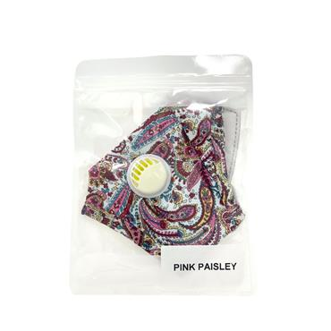 Reusable PM2.5 Floral Face Mask With Valve - Pink Paisley