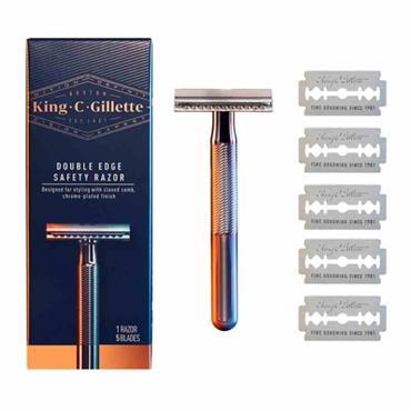 King C Gillette Double Edge Safety Razor + 5 Blades