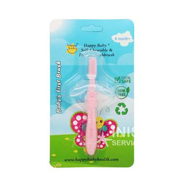 Happy Baby Baby 1st Toothbrush - Pink 6mths +