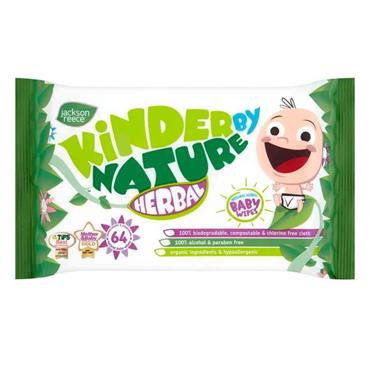 Kinder By Nature Herbal Biodegradable Wipes 64 Pack