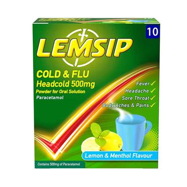Lemsip Cold & Flu Headcold 500mg Lemon & Menthol 10 Sachets