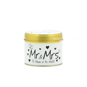 Lily Flame Candle in a Tin Mr & Mrs
