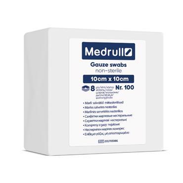 Medrull Non Sterile 8 Ply Gauze Swabs 10cm x 10cm 100 Pack