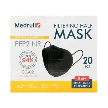 Medrull FFP2 NR Filtering Half Mask Black - 20 Pack