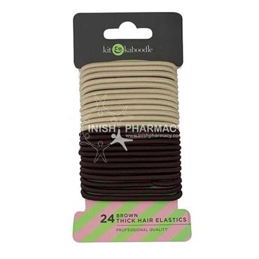 Kit & Kaboodle Brown Thick Elastics 24 Pack