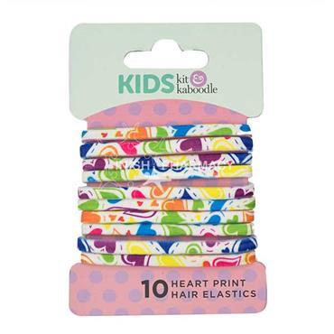 Kit & Kaboodle Heart Print Elastics 10 Pack