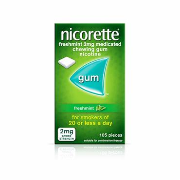 Nicorette Freshmint 2mg Sugar Free Coated Gum 105 Pieces