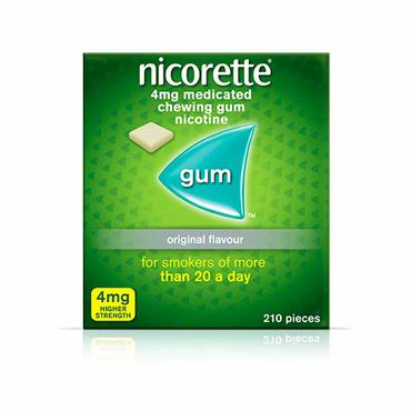 Nicorette 4mg Sugar Free Original Gum 210 Pieces