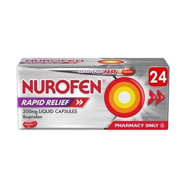 Nurofen Ibuprofen Rapid Relief Liquid Capsules 200mg- 24 Capsules