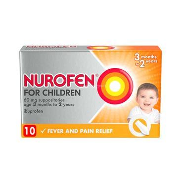 Nurofen For Children 60mg Suppositories (3-24 Months) 10 Pack