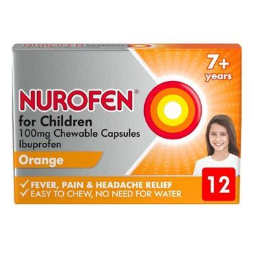 Nurofen For Children 100mg Chewable Capsules Ibuprofen 7+ years 12 Capsules