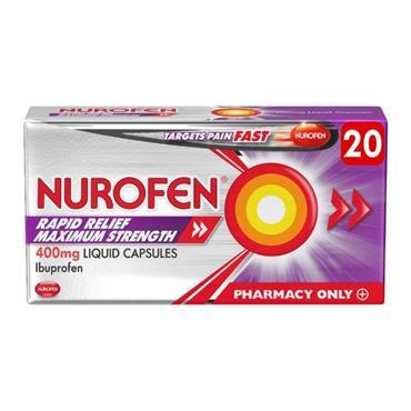 Nurofen Ibuprofen Rapid Relief Max Strength 400mg - 20 Capsules