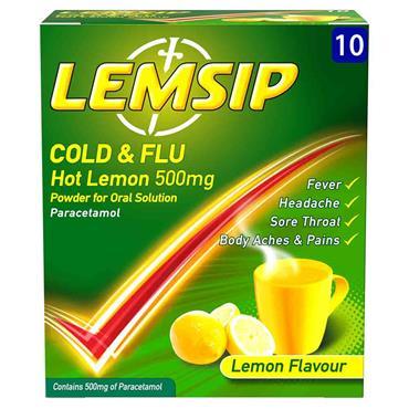 Lemsip Cold & Flu 500mg Hot Lemon