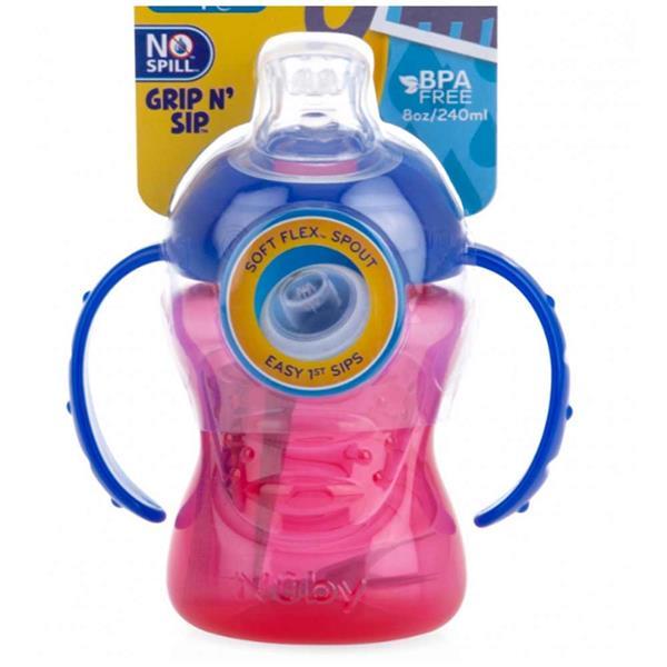 GripnSip 2 Pack from Nuby BPA Free 4-12m Pink//Purple /& Green//Pink