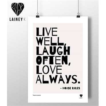 Lainey K - Live Well Laugh Often Love Always A3 Wall Art