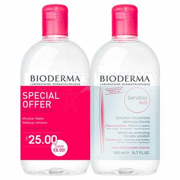 Bioderma Sensibio H2O Makeup Removing Micelle Solution 500ml Twin Pack