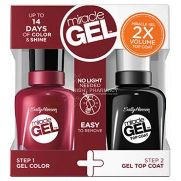 Sally Hansen Miracle Gel 601 Dig Fig Polish & Top Coat Value Pack