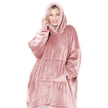 Eskimo Reversible Super Soft Sherpa Hoodie - Pink