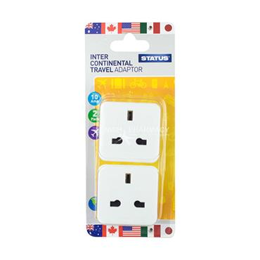 Status Intercontinental Travel Adaptor Twin Pack 10 Amp 240V