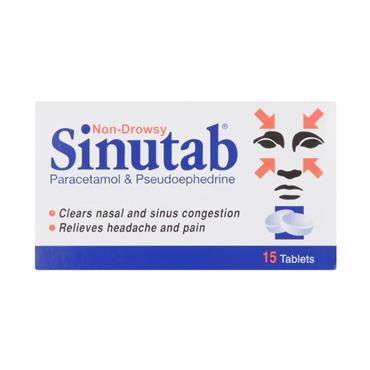 Sinutab 500mg/30mg Tablets 15 Pack