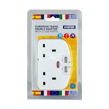 Status European Travel Double Adaptor with 2 USB Ports 7.5 Amp 240V