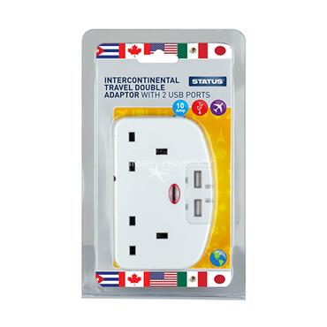 Status Intercontinental Travel Double Adaptor with 2 USB Ports 10 Amp 110-240V