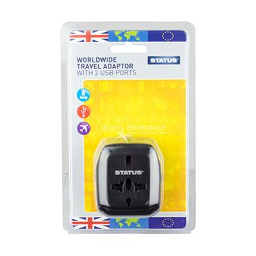 Status Worldwide Travel Adaptor with 2 USB Ports 8 Amp 100 - 240V