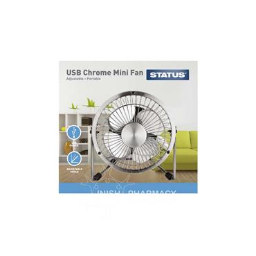Status USB Chrome Wire Mini Fan 4 inch