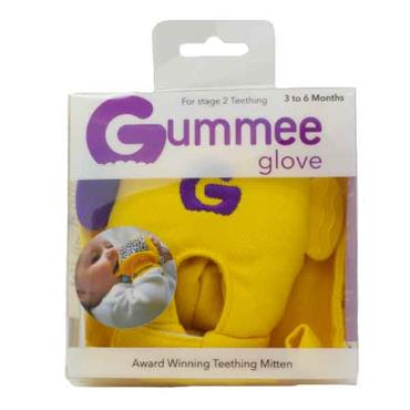 Gummee Glove Teething Mitten 3 - 6 Months For Stage 2 Teething Yellow
