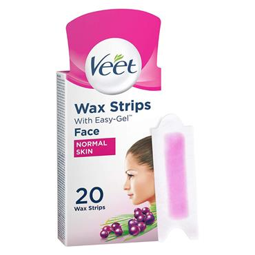 Veet Facial Wax Strips with Easy-Gel 20 Pack