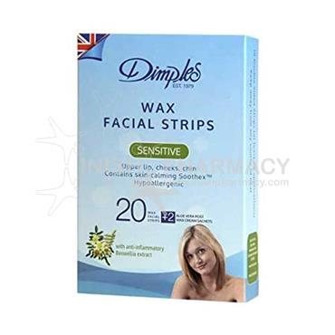 Dimples Wax Sensitive Facial Strips 20 Pack