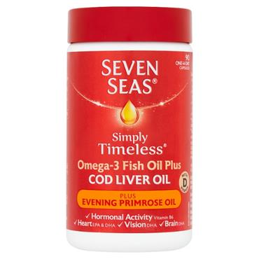 SEVEN SEAS SIMPLY TIMELESS COD LIVER OIL PLUS EVENING PRIMROSE OIL 90 CAPSULES
