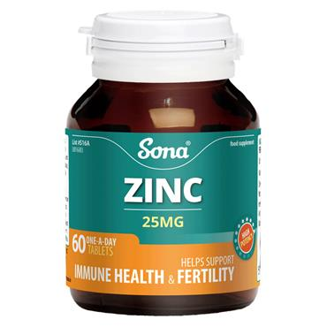 SONA SONA ZINC 25MG TABLETS 60 PACK