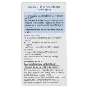 STREPSILS PLUS ANAESTHETIC THROAT SPRAY 20ML
