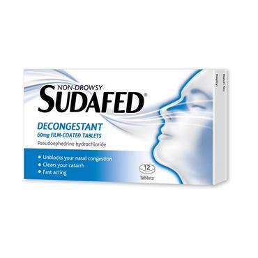 SUDAFED DECONGESTANT 60MG PSEUDOEPHEDRINE TABLETS 12 PACK