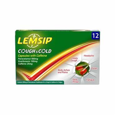 LEMSIP COUGH & COLD CAPSULES WITH CAFFEINE 12 CAPSULES