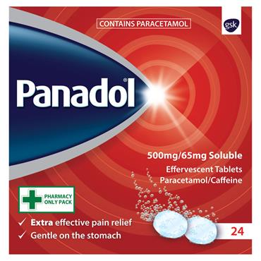 PANADOL EXTRA SOLUBLE 500MG / 65MG EFFERVESCENT TABLETS 24 PACK