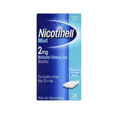 NICOTINELL COOL MINT MEDICATED CHEWING GUM 2MG (24 PIECES)