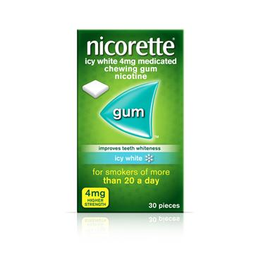 NICORETTE ICY WHITE 4MG MEDICATED CHEWING GUM 30 PIECES