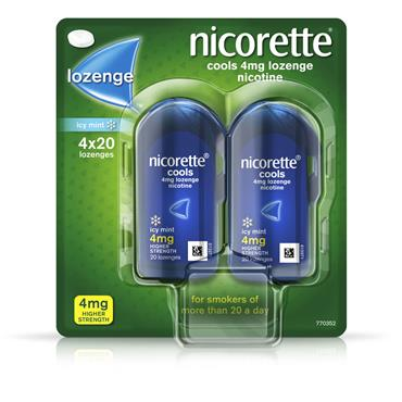 NICORETTE COOLS ICY MINT LOZENGE 4MG 80 PACK