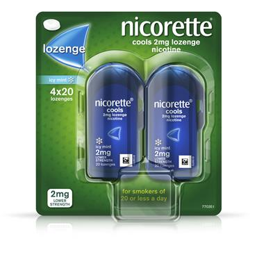 NICORETTE COOLS ICY MINT LOZENGE 2MG 80 PACK