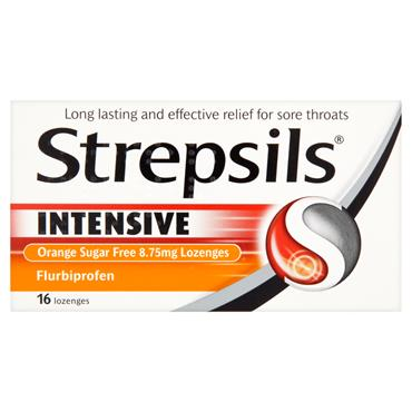 STREPSILS INTENSIVE ORANGE SUGAR FREE 16 LOZENGES