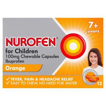 NUROFEN NUROFEN FOR CHILDREN 100MG CHEWABLE CAPSULES 12 PACK