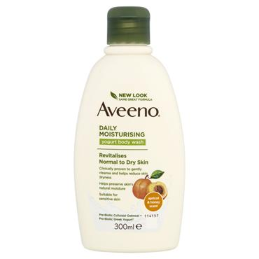 AVEENO DAILY MOISTURISING YOGURT BODY WASH APRICOT & HONEY 300ML